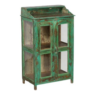 Rustic Green Teak and Glass Display Cabinet For Sale