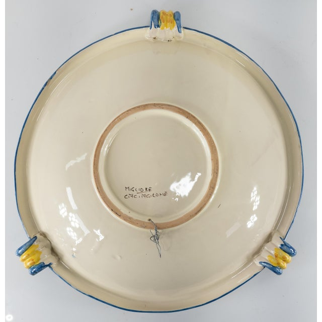 Ceramic Late 20th Century Italian Yellow Majolica Renaissance Revival Decorative Wall Charger For Sale - Image 7 of 10