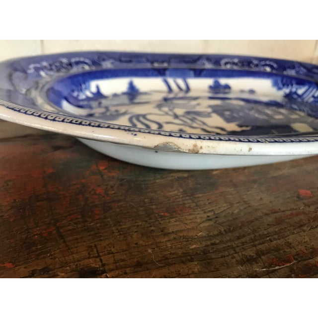 1930s English Flow Blue Willow Large Platter For Sale - Image 9 of 12
