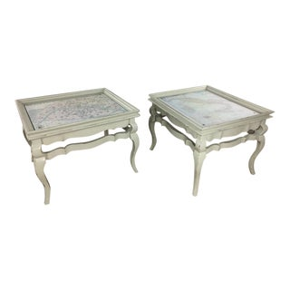 French Style Distressed Map Top End Tables - a Pair