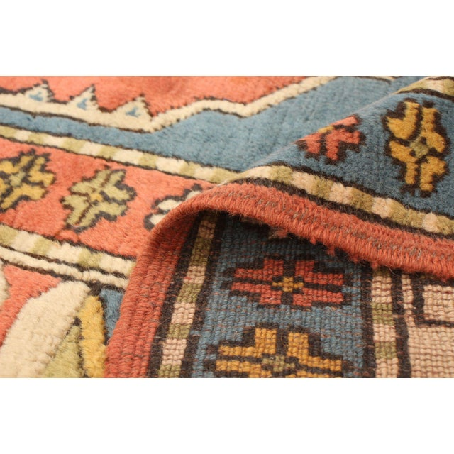 Cream Hand-Knotted Turkish Rug For Sale - Image 8 of 9