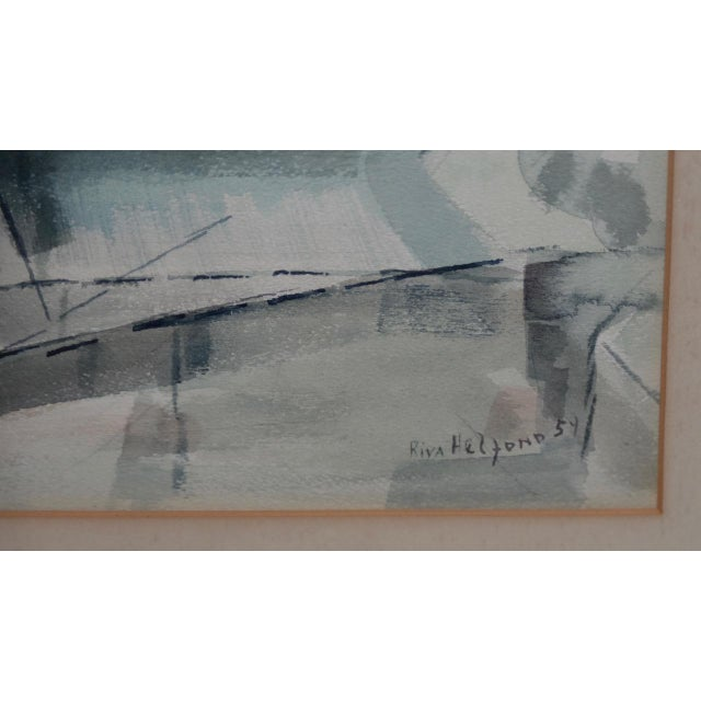 """Abstract 1954 """"Notre-Dame De Paris Cathedral"""" Watercolor Painting by Riva Helfond For Sale - Image 3 of 10"""