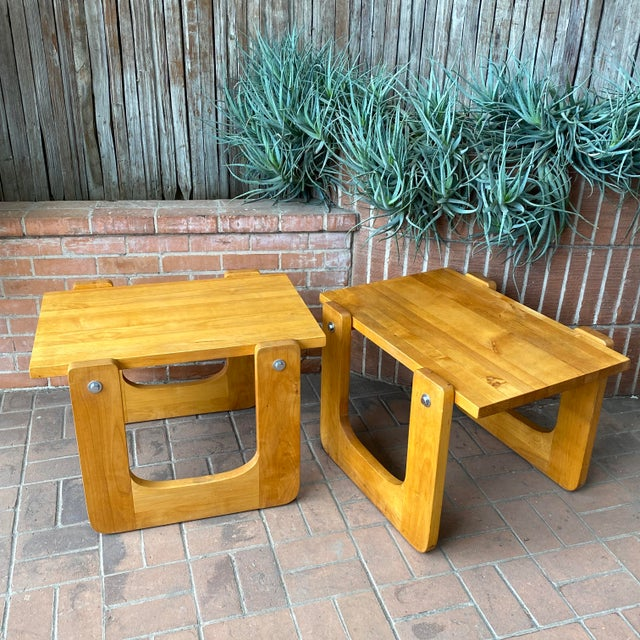 1970s 1970s Studio Craft Pine Side Tables - a Pair For Sale - Image 5 of 8