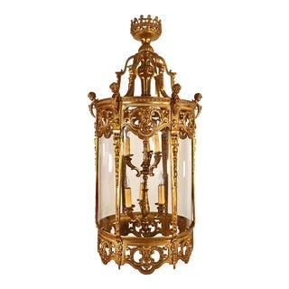 Late 19th Century French Louis XVI Style Gilt Bronze Lantern For Sale