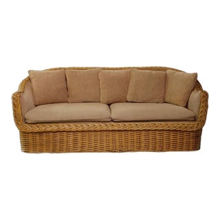 Vintage Boho Chic Rattan Sofa For Sale