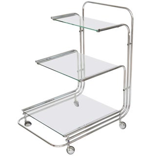 Fontana Arte Chrome Bar Cart For Sale