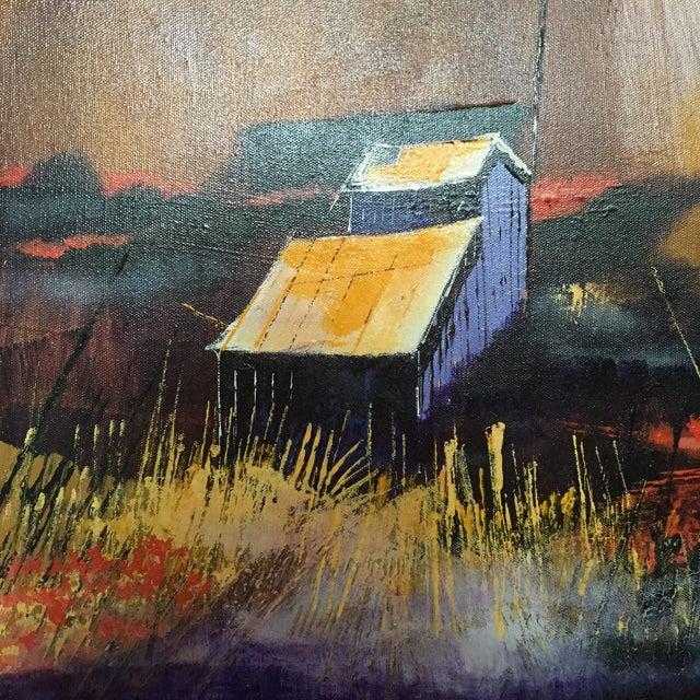 Vibrant Multi Color Mid-Century Modern Country Landscape Farm Barn Farmhouse Painting - Image 7 of 11
