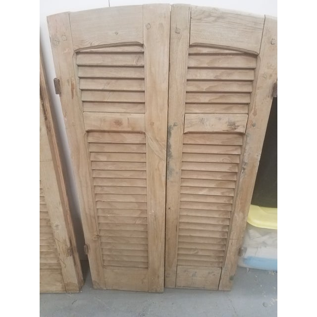 Late 19th Century Antique Curved Wooden Shutters - Set of 4 For Sale - Image 5 of 11