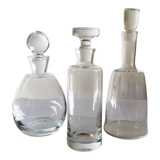 Trio of Crystal Decanters - Set of 3 For Sale