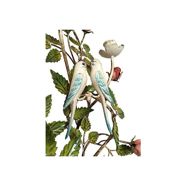Italian Florentine Tole Candle Sconce W/ Birds - Image 3 of 5