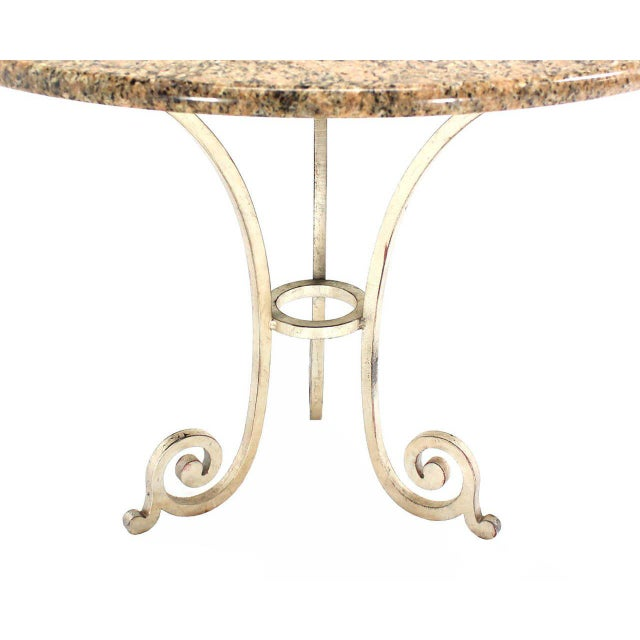 Granite Top Heavy Iron Base Round Gueridon Cafe Center Table For Sale - Image 4 of 5