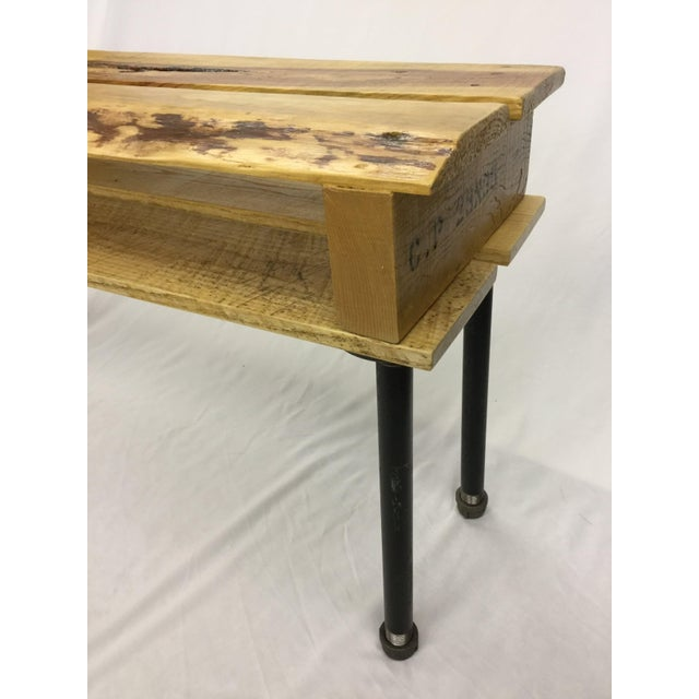 Pallet Wood Hand Finished Narrow Hallway Bench For Sale - Image 5 of 12