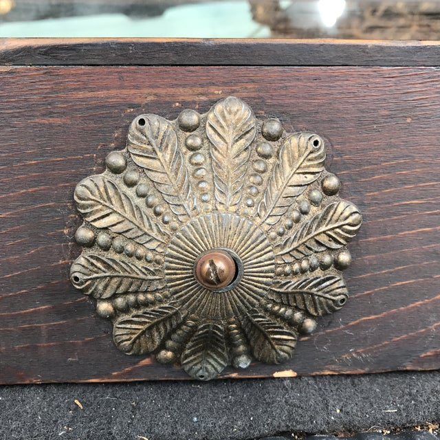 1930s Antique Brass Angel Detail Wooden Jewelry Case For Sale - Image 5 of 10