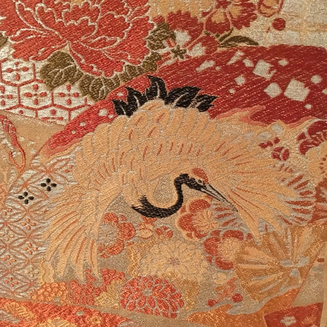 Vintage Japanese Silk Wall Tapestry For Sale - Image 4 of 7