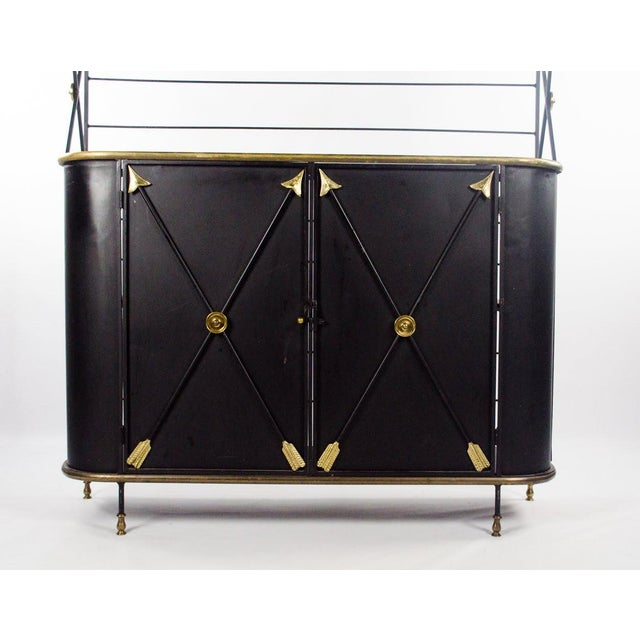 Metal Modern Campaign Style Bakers Rack and Cabinet For Sale - Image 7 of 13