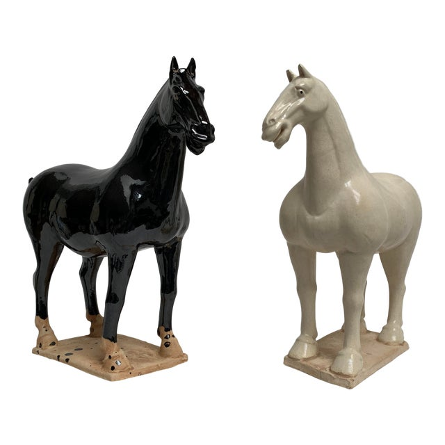 1980s Gump's San Francisco Oversized Terra Cotta Tang Dynasty Style Horses - a Pair For Sale
