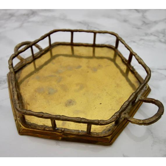 Vintage Brass Bamboo Octagon Tray - Image 4 of 4
