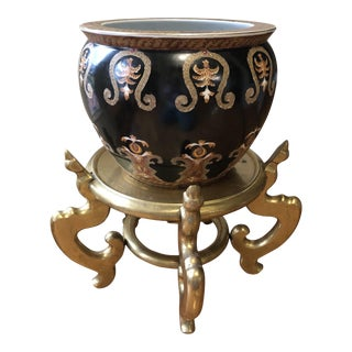 Chinoiserie Hand-Painted Planter & Solid Brass Stand For Sale