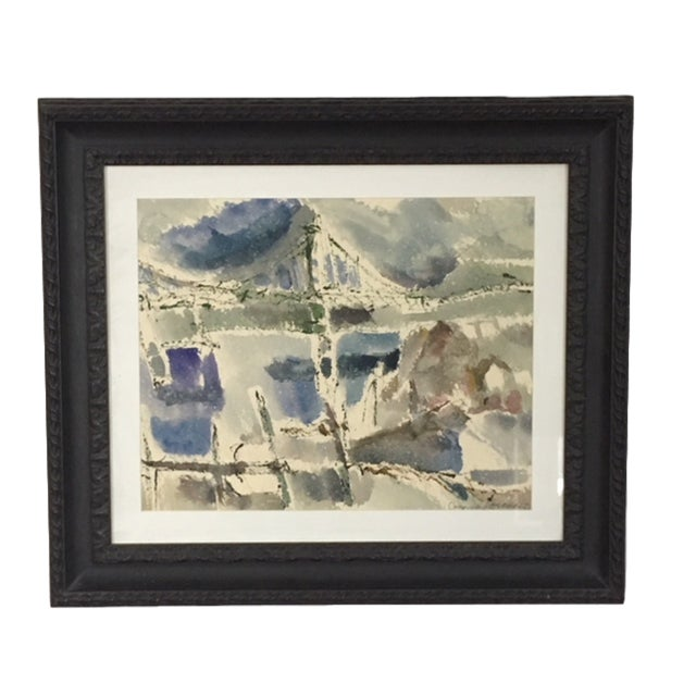 """Narrows Bridge"" Abstract Watercolor by George Kosanovic 1977 For Sale In Seattle - Image 6 of 6"