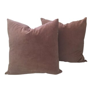Kirsten Hecktermann Hand-Dyed Pale Pink Velvet Pillows - a Pair For Sale