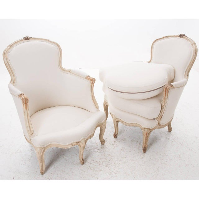 19th Century French 19th Century Louis XV Painted Bergères - a Pair For Sale - Image 10 of 11