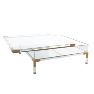 Large Maison Jansen Lucite and Brass Vitrine Coffee Table For Sale
