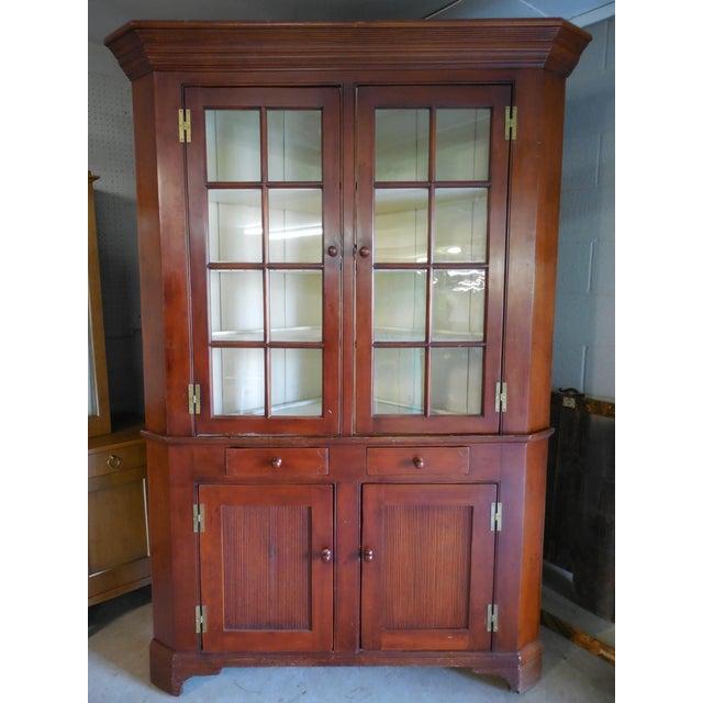 19th Century Antique 16 Pane Cherry 2 Piece Corner Cabinet - Image 2 of 11 - 19th Century Antique 16 Pane Cherry 2 Piece Corner Cabinet Chairish