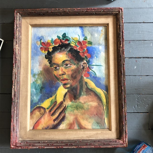 Wood Original Vintage Mid Century Modern Female Watercolor Portrait Painting Signed Original Modernist Frame For Sale - Image 7 of 7