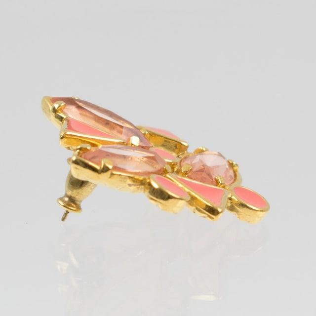 Yves Saint Laurent Paris Pierced Earrings Gilt Metal Pink Salmon Rhinestones For Sale In Atlanta - Image 6 of 7