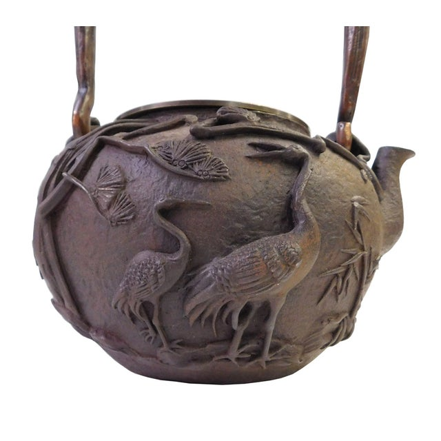 Vintage Iron Relief Turtle Crane Decorative Teapot - Image 4 of 10