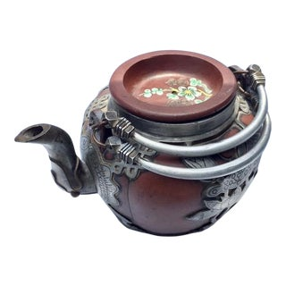 Antique Chinese Clay & Pewter Tea Pot - Signed For Sale