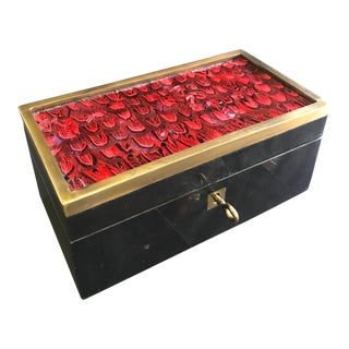 Vintage R & Y Augousti Jewelry Box in Mosaic Pen Shell and Exotic Red Feathers For Sale