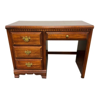 Late 20th Century Maple + Brass Traditional Desk For Sale
