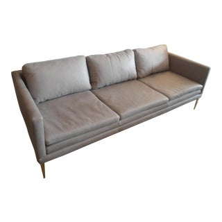 Lichen Gray Leather Narrow Arms Sofa with Gold Metal Legs