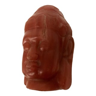 1980s Vintage Hand Carved Stone Buddha Head Paper Weight For Sale