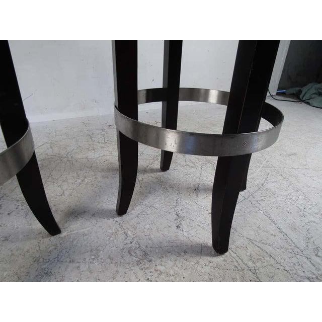 Set of Four Mid-Century Modern Italian Swivel Bar Stools For Sale - Image 4 of 11
