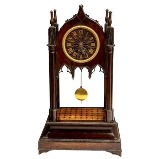 19th C. Antique Gothic Revival Victorian Architectural Steeple Mantle Clock For Sale
