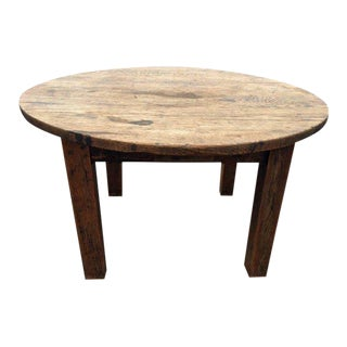 Rustic Round Oak Coffee Table