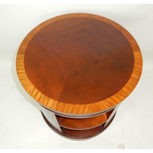 Baker Furniture Inlaid Banded Mahogany Drum Shaped Book Case For Sale - Image 6 of 13