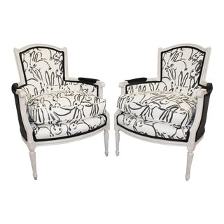 Final Markdown French Hollywood Regency Hunt Slonem Bunnies Upholstered Bergeres- a Pair