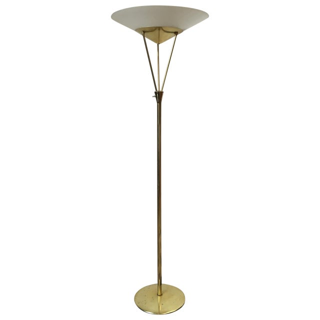 Gerald Thurston Reverse Tripod Brass Floor Lamp For Sale