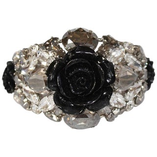Philippe Ferrandis Black Rose Resin Cuff For Sale
