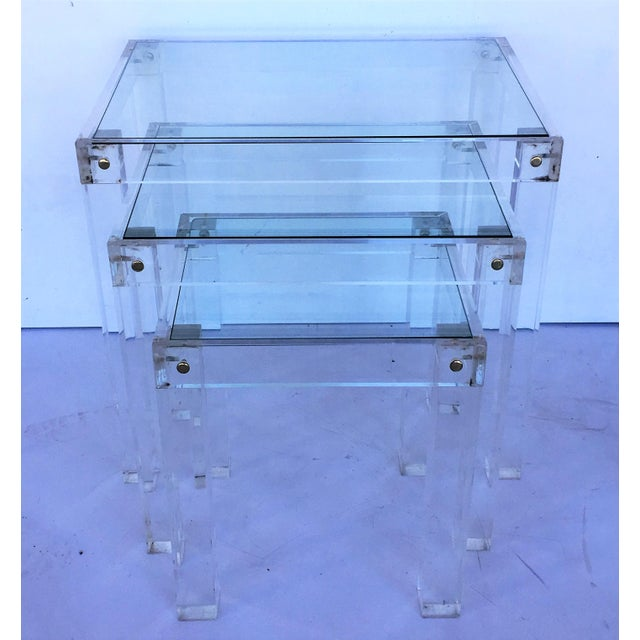 French Set of Vintage Lucite and Glass Nesting Tables For Sale - Image 3 of 10