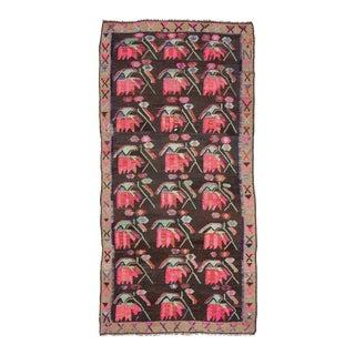 Vintage Floral Turkish Kilim Rug For Sale