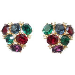 1980's Ciner Multi Color Crystal Rhinestone Clip on Earrings For Sale