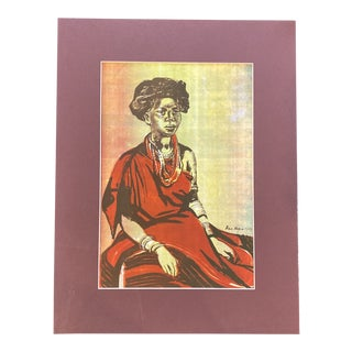 """1953 """"Basuto Woman in Red Dress"""" Rosa Hope South African Figurative Lithograph For Sale"""