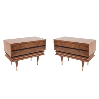 Mid 20th Century Italian Post-War Walnut End Tables-a Pair For Sale