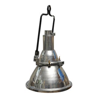 Ship's Chrome Deck Light With Iron Brackett For Sale