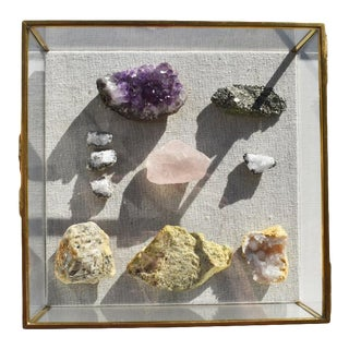 Glass and Brass Shadow Box With Linen Backing and Gemstone Quartz Rocks For Sale