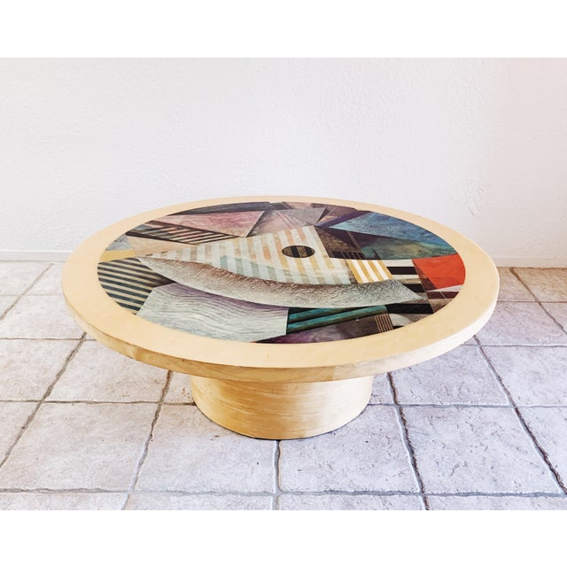 1980s Vintage Post Modern Cylinder Coffee Table For Sale - Image 10 of 10